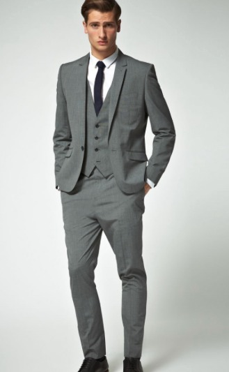 grey suit black tie vest | love party