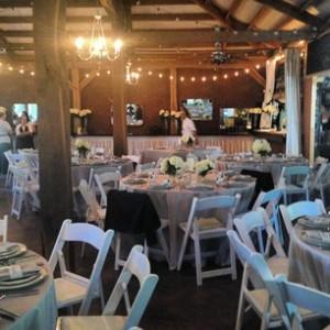 gray tablecloths white hydrangeas